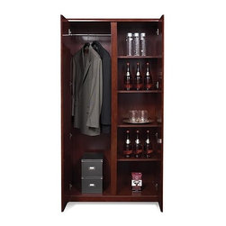 Office Star - Wardrobe Storage Armoire w Hidden Bar & Five - Made of Wood. Select hardwood veneers, book-matched. Solid hardwood edges. Dark Cherry finish with medium sheen. Radius wood edges on tops and modesty panels. Compound radius corners on tops. Common grain direction on tops of all components of L and U workstations. Pictured in Dark Cherry Wood. Some assembly required. 37 in. W x 19 in. L x 70 in. H