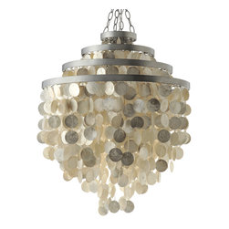 Kouboo - Round Chandelier with Capiz Shells, Champagne - Exquisitely crafted, each chandelier includes approximately 1,545 hand cut Capiz seashells in an elegant formation that keeps this light fixture in your home's spotlight. Tied to a silver polished iron frame, these honey tinted Capiz seashells will highlight the beauty of your home while casting a beautiful glow.