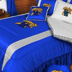 Sports Coverage - Kentucky Wildcats NCAA Bedding - Sidelines Comforter and Sheet Set Combo - Twin - This is a great Kentucky Wildcats NCAA Bedding Comforter and Sheet set combination! Buy this Microfiber Sheet set with the Comforter and save off our already discounted prices. Show your team spirit with this great looking officially licensed Comforter which comes in new design with sidelines. This comforter is made from 100% Polyester Jersey Mesh - just like what the players wear. The fill is 100% Polyester batting for warmth and comfort. Authentic team colors and logo screen printed in the center.   Microfiber Sheet Hem sheet sets have an ultrafine peach weave that is softer and more comfortable than cotton.  Its brushed silk-like embrace provides good insulation and warmth, yet is breathable.  The 100% polyester microfiber is wrinkle-resistant, washes beautifully, and dries quickly with never any shrinkage. The pillowcase has a white on white print beneath the officially licensed team name and logo printed in vibrant team colors, complimenting the NEW printed hems. The Teams are scoring high points with team-color logos printed on both sides of the entire width of the extra deep 4 1/2 hem of the flat sheet.  Includes:  -  Flat Sheet - Twin 66 x 96, Full 81 x 96, Queen 90 x 102.,    - Fitted Sheet - Twin 39 x 75, Full 54 x 75, Queen 60 X 80,    -  Pillow case Standard - 21 x 30,    - Comforter - Twin 66 x 86, Full/Queen 86 x 86,