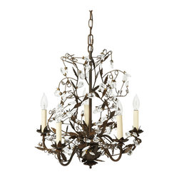 "Claudette Chandelier - Twisting and tangling like the graceful limbs of an ancient tree, the Claudette Chandelier combines rustic wrought iron with delicate crystals to create a captivating, nature-inspired sculpture for your space. The delicate, cast-metal leaves and cut-crystal ""buds"" are meticulously molded to each swooping iron branch, reflecting the light of five electric candles in a soft, shimmering display."