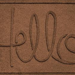 Bungalow Flooring - Aqua Shield 2'x3' Hello Doormat, Dark Brown - Premium 24-oz. anti-static polypropylene mat traps dirt, water and mud.