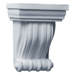 """Ekena Millwork - 4 3/4""""W x 3 1/8""""D x 6 1/4""""H Waltz Corbel - 4 3/4""""W x 3 1/8""""D x 6 1/4""""H Waltz Corbel. These corbels are truly unique in design and function. Primarily used in decorative applications urethane corbels can make a dramatic difference in kitchens, bathrooms, entryways, fireplace surrounds, and more. This material is also perfect for exterior applications. It will not rot or crack, and is impervious to insect manifestations. It comes to you factory primed and ready for your paint, faux finish, gel stain, marbleizing and more. With these corbels, you are only limited by your imagination."""