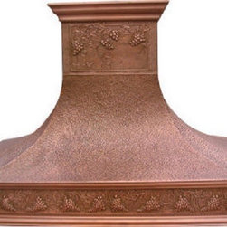 """myCustomMade - Hammered Copper Range Hood """"New Yorker"""", Honey, 30"""", Wall Mount - Custom hammered design makes this hammered copper range hood a great addition to the kitchen. Customize the modern copper hood by choosing natural fired, coffee, honey or antique finishing. """"New Yorker"""" style is produced as 30, 36 or 48 inches wide. Its depth is 22"""", height 36"""" and it takes about thirty days to deliver. Once purchased specify the hood 210000010 version as wall mount or kitchen island. Enjoy free delivery."""