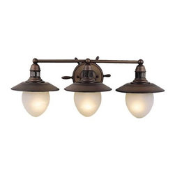 """Vaxcel - Vaxcel Lighting VL25503, Antique Red Copper - Features: -Indoor two light vanity light. -Nautical Collection. -Antique red copper finish. -Frosted glass. Specifications: -Accommodates (3) 60 W, medium base bulb (not included). -Overall dimensions: 10.5"""" H x 28"""" W x 11"""" D."""