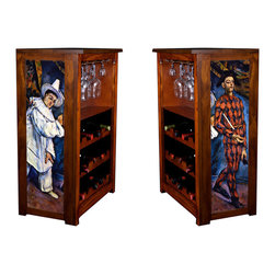 "Kelsey's Collection - Wine Cabinet 15 bottle Mardis Gras - Wine Cabinet stores wine and glassware and showcases artwork by Cezanne, on side panels.  The frame, top, and racks are solid New Zealand radiata pine with a hand  rubbed mahogany brown finish, that is then protected with a  lacquer coat and top coat.. The art is giclee printed on canvas with three coats of UV inhibitor to protect against the sunlight and thereby extend the longevity of the art. The canvas is then glued onto panels and inserted into the frames. The overall dimensions are 33"" by 22"" by 11.5"" Net weight 20# Three racks each holding 5 bottles.  Shelf, and stemware holder.  Estimated assembly time – 20 minutes -"