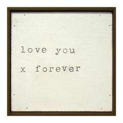Love You X Forever Vintage Typewriter Square Wall Art