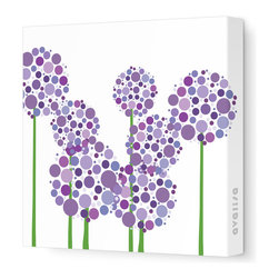 "Avalisa - Imagination - Allium Stretched Wall Art, Purple, 28"" x 28"" - Art is the best way to add personality to your home. These clusters of multi-hued flowers would bring a pop art vibe to a blank wall and liven up your space. The stretched canvas means it's ready to hang and you don't even have to worry about framing. Ready, set, decorate!"