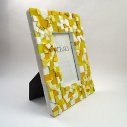 Mosaic Picture Frames - 4x6 Yellow Picture Frame by Live In Mosaics.