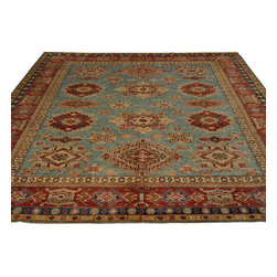 Sky Blue Super Kazak Rug 8'x10' 100% Wool Tribal Design Hand Knotted Sh18090 - Our Tribal & Geometric hand knotted rug collection, consists of classic rugs woven with geometric patterns based on traditional tribal motifs. You will find Kazak rugs and flat-woven Kilims with centuries-old classic Turkish, Persian, Caucasian and Armenian patterns. The collection also includes the antique, finely-woven Serapi Heriz, the Mamluk Afghan, and the traditional village Persian rug.