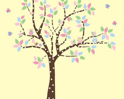 Polka Tree with Owls and Birds Wall Decal - This fun and cute wall decal is perfect for your nursery or child`s room!