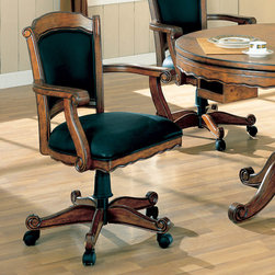 Coaster - Game Chair in Oak - Three-in-one oak bumper pool table with 42 of playing surface. Table can be used as a dining table, poker table or bumper pool. Pool sticks and balls included. Solid oak upholstered arm chairs include casters, chairs do not have gas lift.