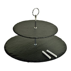 """Picnic at Ascot - Serat Two Layer Round Slate Server, Black Slate by Picnic at Ascot - Our Serat Two Layer Round Slate Server in Black Slate by Picnic at Ascot is great for cheese and appetizers. Non slip padded feet. This two layer server is handcrafted of 1/4"""" thick natural slate board with a cutting surface and natural edges. With an attractive center handle to carry it also includes two soapstone pencils for identifying cheese on the board."""