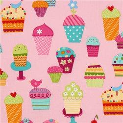 pink fabric sundaes & cupcakes Robert Kaufman kawaii - kawaii fabric with many colourful ice cream cups by Lesley Grainger from the USA