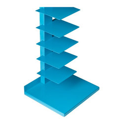 "Holly & Martin - Holly & Martin Heights Book/Media Tower-Berry Blue X-20-3-310-121-36 - Add a pop of color to your home! This bright media tower works as an artistic focal point in any room. The tall yet slender design saves valuable space and works well in large or small places.   This tower features 11 metal shelves for storing books, magazines, movies, or decorative items. The bright, berry blue painted finish and powder-coated metal combine for long-lasting quality.  This extremely versatile tower works as a bookshelf in the bedroom, a media stand for the family room, or even as a towel stand in the bathroom. The bold color works best in transitional to modern homes.  Please note: Our photos are as accurate as possible, but color discrepancies may occur between the product and your monitor. The handcrafted touch of artisan skill also creates variations in color, size, and design: slight differences should be expected.  - FEATURES:                                                                                             - Spacious storage on 11 open shelves                                                                   - Painted berry blue finish                                                                             - PRODUCT SPECIFICATIONS:                                                                               - Base: 16"" W x 14"" D x 1"" H                                                                            - Spine: 3"" W x 1.5"" D x 55.25"" H                                                                       - Shelves: 7.75"" W x 7.75"" D x 4.25"" H (each)                                                           - Supports up to 9 lb. per shelf                                                                        - Constructed of powder-coated tube and sheet metal                                                     - Assembly required                                                                                     - 16"" W x 14"" D x 55.25"" H"