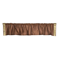 Indian Selections - Pair of Brown Rod Pocket Top It Off Handmade Sari Valance, 60 X 15 In. - Size of each Valance: 60 Inches wide X 15 Inches drop. Sizing Note: The valance has a seam in the middle to allow for the wider length