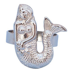 """Handcrafted Nautical Decor - Chrome Mermaid Napkin Ring 2"""" - Decorative Chrome Napkin Ring - This Chrome Mermaid Napkin Ring 2"""" is the perfect addition for those with a nautical theme kitchen. Strong, sturdy, and durable buy a set of these napkin rings to accommodate all of your guests. The chrome finish on this mermaid will infuse your dining area with a nautical appearance. Dimensions: 2"""" Long x 2"""" Wide x 2"""" High"""