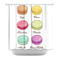 DiaNoche Designs - Shower Curtain - Diana Evans Laduree Macaroons I - DiaNoche Designs works with artists from around the world to bring unique, artistic products to decorate all aspects of your home.  Our designer Shower Curtains will be the talk of every guest to visit your bathroom!  Our Shower Curtains have Sewn reinforced holes for curtain rings, Shower Curtain Rings Not Included.  Dye Sublimation printing adheres the ink to the material for long life and durability. Machine Wash upon arrival for maximum softness. Made in USA.  Shower Curtain Rings Not Included.