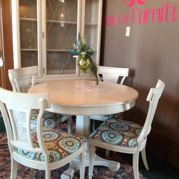 Vintage Redesigned Dining Table and Chairs with Hutch - Vintage redesigned dining table and chairs with hutch.