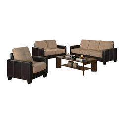 Coaster - Coaster Regatta Contemporary 3 Piece Sofa Set in Khaki and Brown - Coaster - Sofa Sets - 500100 -This three-piece set features combination microfiber and leather-like vinyl upholstery that creates a stylish two-tone effect in your living room. Consisting of a sofa, love seat and chair, this contemporary three-piece living room set includes plush khaki microfiber on the seats and rich dark brown vinyl-wrapped bases. Simply place in your living room for effortless style!