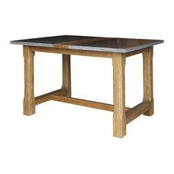 Marco Polo Imports - Ulysses Bluestone Pub Table - Rustic farmhouse pub table, skillfully built from quality oak with a blue-stone top in an aged oak finish.