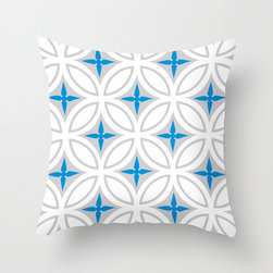 Tangier Tiles Pillow Cover in Blue - Evoke the riot of design and color that is northern Morocco in this cheery, graphic pillow cover! With a bold pattern in gray with punches of bright color, it's just as good at fitting in as it is at standing out.