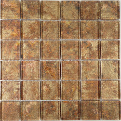 "Euro Glass - Galaxie Warm Glow  2"" x 2"" Bronze/Copper Folia 2"" x 2"" Glossy Glass - Sheet size:  12"" x 12""        Tile Size:  2"" x 2""        Tiles per sheet:  36        Tile thickness:  1/4""        Grout Joints:  1/8""        Sheet Mount:  Mesh Backed         Important Information:  During manufacturing  color is bonded to the back of the glass tiles. As a result  color may vary. Tiles should not be installed in areas exposed to direct sunlight as color will change.         Sold by the sheet    -   Folia patterned-glass mosaics offer a unique appearance unachievable with conventional tiles. The vibrancy and depth of color combined with the reflective quality of glass results in a unique and dramatic effect that is borderline out-of-this-world!  They are easy to clean and maintain. They will continue to provide a dazzling appearance for many years to come."