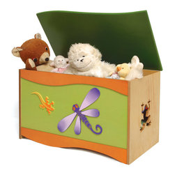Little Lizard Toy Box - A large quality toy chest that will be treasured as much as the treasures it holds. Frogs, a lizard and a dragonfly accent this toy chest, made of birch veneers and finished in colorful stains. Wave shaped lid is solid birch wood. Safety hinges and finger space under lid ensure that little fingers won't get hurt.