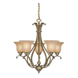 Vaxcel - Tuscan Five Light Up Lighting Chandelier - Antique Brass - Bulb Base: Medium (E26). Bulb Wattage: 100. Bulb Count: 5. Bulbs Not Included
