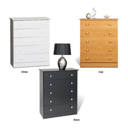 None - Five-drawer Chest - Update your home decor with this five-drawer bedroom chest. Keep clothing and personal items stored neatly in its five spacious drawers. Available in your choice of finishes, this chest will do wonderfully with pre-existing home furnishings.