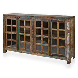 Reclaimed Rosewood Buffet Cabinet - Handcrafted reclaimed rosewood buffet cabinet / media console with four front facing glass cabinets. Top of the cabinet is solid stained wood. Imported from India.