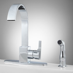 Aster Kitchen Faucet with Side Spray - The Aster Kitchen Faucet brings a new dimension to your sink. This faucet's contemporary style puts a twist on the classic gooseneck design. Made of durable solid brass.