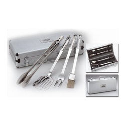 "All-Clad - All-Clad Barbecue Tool Set - The original stainless tool collection was designed to complement All-Clad cookware. The barbecue tool set includes two-pronged fork, boar's head brush, locking tongs and slotted turner, each ergonomically designed with extra-long handles to keep hands at a safe distance from the hot grill. The handles feature a hole to keep tools hanging within easy reach of the grill. A locking metal storage case keeps tools protected from the elements and allows for easy transport.  Highly polished, 18/10 stainless steel Ergonically designed to achieve ideal balance, weight and feel Case is 19"" x 8"" x 4"" Laser etched All-Clad logo on the handle Locking metal storage case for easy transport Extra long handles Made in China Includes: 2 pronged fork, brush, locking tongs and turner"