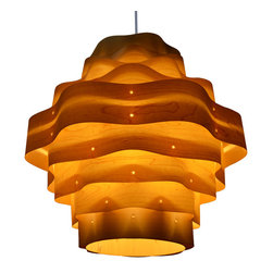 OAKLAMP - Wood Pendant Lamp (Ceiling Lighting),OP2020L-MP - The first photo shows what the lamp looks like when illuminated. The second photo shows what the lamp looks like when turned off.