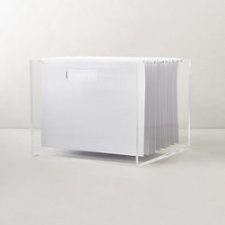 Lucite Desk Accessory, File Box - This super sleek Lucite file box makes organizing papers a cinch.