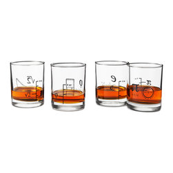 Modern Exclusive Glasses - Set of 4 - Regular numbers? Those are for amateurs. Show off your mathematical prowess with every pour when you serve drinks in this numerically inclined glass set that features equivalent mathematical constants in addition to standard ounces. Each Old Fashioned glass also includes an expanded formula on its back, an embellishment that's bound to thrill fellow geeks and pique the interests of numerical novices. Whether they join you with water during class or with something a little stronger as you celebrate cracking your latest conundrum, you'll be glad you got your digits around these endlessly entertaining glasses. Glassware made in New Jersey, decorated in West Chicago, IL.