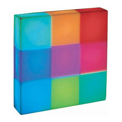 Lite Source - Lite Source Rubik Table Lamp - From the Rubik Collection, this Lite Source accent lamp is an excellent choice for adding fun and whimsy to any setting whether it's an ultra-modern living room or a fun children's playroom. The shade is made from a white plastic with multi-colored LED light bulbs below that help to create various colors and shades.