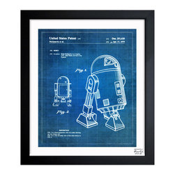 "The Oliver Gal Artist Co. - 'Robot II 1979' Framed Art - Exclusive blueprints inspired by real vintage patent drawings & illustrations. Handcrafted in the Oliver Gal Artist Co. Studios in Miami, Florida. Produced on matte proofing paper and hand framed by professional framers in a 1.2"" premium black wood frame. Perfect for any interior design project, gifts, office décor, or to add special value to one of your favorite collections."