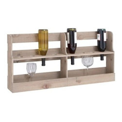 Woodland Imports Wooden Pallet 17 in. Wine Bottle & Stemware Rack - 8 Bottle - The Woodland Imports Wooden Pallet 17 in. Wine Bottle & Stemware Rack - 8 Bottle offers a casually chic spot for your favorite wines. Crafted of sturdy, solid hardwood with a ruggedly unfinished look, this eight-pack wine rack combines clean, contemporary lines and rustic charm. This rack can be wall-mounted or used as countertop storage and includes a handy stemware shelf.