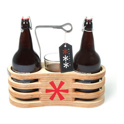 Wildcard Design - Growler Carrier, Natural Birch Plywood with A Clear Coated Finish, 32oz. - You now have the option to carry either your 64 oz growlers or your 32 oz growlers to your next gathering with our newly designed carriers. Each carrier can transport two growlers and two glasses. The bent steel handle follows the contour of the cnc-milled birch-ply growler and provides the extra strength and durability needed to haul your favorite suds.