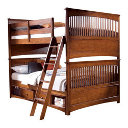 Lea Industries - Lea Elite Crossover 3-Piece Bunk Kids' Bedroom Set in Burnished Cherry - Welcome to the Lea Elite collection , Crossover. A mixture of American Country, Arts and Crafts, and Shaker styles are blended to create this collection . The finish is a darker, burnished cherry with a lot of hand applied high lighting and accent; adding to the high style rustic and country design. The hardware is an antiqued brass color and adds even more simple to appeal to Crossover. design details such as the tapered posts accentuated with wood plugs add to the hand crafted motif. Crossover is a versatile group that fits children's and teen rooms, condos, and even smaller master bedrooms.