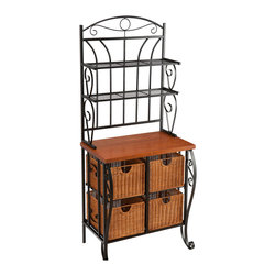 """Holly & Martin - Lillian Iron & Rattan Baker's Rack - Simple and stylish, this baker's rack solves the storage issues of the kitchen. Take advantage of the spacious four wicker drawers measuring 14"""" deep, 11"""" wide, and 8.5"""" tall to store your dishtowels, pots, pans, cookbooks, and more. The shelves are perfect for showing off fancy plates and cups. The 30"""" tall cherry counter is 17"""" deep and laminated to give a butcher-block style appearance. Above the countertop, the two deep wire shelves measure 8.5"""" deep with approximately 8.5"""" between them. Attractive and beautiful, this traditional baker's rack will make a wonderful addition to your kitchen or dining room."""