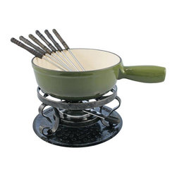 Swissmar Lugano Fondue Set Deep Green - The Swissmar Lugano 9 Piece Fondue Set is a traditional style cast iron cheese fondue set. This set includes a fondue pot black wrought iron rechaud six cheese fondue forks and a fondue burner. The pot is enamelled inside and provides even heat distribution. Can be used on all heat sources - easy to clean. Capacity 2L/2 Qt. Gift boxed.