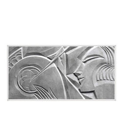 Gallery Relief No. 1, Small, Unframed - This print is of an art deco relief by Leon Leyritz originally created circa 1929 Paris, France. It is one of a series depicting artisans at work and is an excellent example of the distinct style of the artist. In this period photograph, the Artists typical use of strong angular elements interacts with the highlights and shadows of the light skimming the relief's surface.