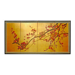 "Oriental Furniture - Plum Tree on Gold Leaf - 24"" - The brilliant red blossoms of the plum tree have been a richly symbolic subject of Chinese art and poetry for over a thousand years. Master artisans working in this tradition have painted and gilded these screens by hand, and no two are exactly alike. Each comes mounted on four panels, bordered with silk brocade, and set in a lacquered wooden frame. Ornamental hangers are included for wall mounting, but this painting can also be folded and placed on a table or floor to create an artful privacy screen."
