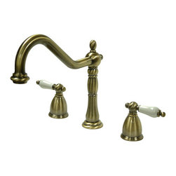 "Kingston Brass - 8"" Center Kitchen Faucet without Deck - Victorian style Two Handle Deck Mount, 3 hole Sink application, 8"" Widespread, Fabricated from solid brass material for durability and reliability, Premium color finish resist tarnishing and corrosion, 360 degree turn swivel spout, 1/4 turn On/Off water control mechanism, 1/2"" - 14 NPS male threaded inlets, Duraseal washerless valve, 2.2 GPM (8.3 LPM) Max at 60 PSI, Integrated removable aerator, 8-1/4"" spout reach from faucet body, 9-1/4"" overall height, Ten Year Limited Warranty to the original consumer to be free from defects in material and finish.; Sprayer Not Included; 1/4 Turn Washerless Cartridge; Porcelain Lever Handle; Vintage Brass Finish; 3 Holes Installation with a 8-1/4"" spout reach; Material: Brass; Finish: Vintage Brass Finish; Collection: Heritage"