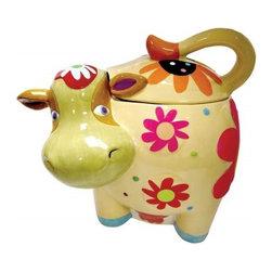 "Westland - Multi-Colored Cozy Cow Facing Forward With Flowers Cookie Jar, 10"" - This gorgeous 10 Inch Multi-Colored Cozy Cow Facing Forward with Flowers Cookie Jar has the finest details and highest quality you will find anywhere! 10 Inch Multi-Colored Cozy Cow Facing Forward with Flowers Cookie Jar is truly remarkable."