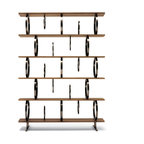 Ceccotti - Ceccotti Flying Circles Bookshelves - Modular bookshelf with shelves made in solid American walnut or ebonized wood.Structural and book stop rings and connection plaques in black nickel finished steel. Unlimited configurations. Manufactured by Ceccotti.