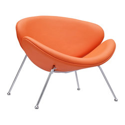 "LexMod - Nutshell Mid-Century Style Lounge Chair in Orange Vinyl - Sprawling horizons roll gently outward from this deep-seated Nutshell Lounge Chair. Unwrap the graceful duet of soft-cushioned molded ""shells"" positioned artistically on tube chrome legs. Achieve surprising results as you make your escape from traditional seating toward radical positioning."