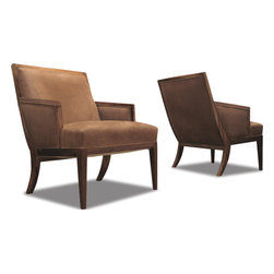 Belgrano Chair - This beautifully hand-crafted chair with springs can be specified as a lounge chair or customized to settee size. Shown in Guayubira with Polo Leather.  Available for shipment anywhere in the world.