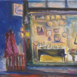 Cafe Basaam'S At Night (Original) By Dixie Galapon - I just finished this painting a few weeks ago. I painted it en plein air (outdoors) standing on a sidewalk across from Cafe Bassam in San Diego. It was a little drizzly - but I was determined to get this painting done. While I was painting, I could hear the karaoke singing at a nearby bar...mostly Broadway showtunes and pop standards. It was a fun night!
